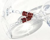 PERSONALIZED Wedding Champagne Glasses, Champagne Flutes Beaded Red Marsala SWAROVSKI Crystals, ELEGANT Stemware
