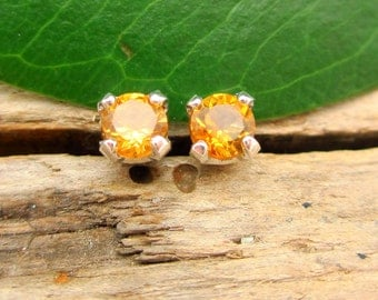 Citrine Honey Yellow Earrings in Gold, Silver, Platinum, or Palladium with Genuine Gems, 3mm - Free Gift Wrapping