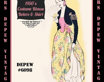 Vintage Sewing Pattern 1950's Spanish Costume Ensemble in Any Size - PLUS Size Included - Depew 6098 -INSTANT DOWNLOAD-