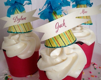 Birthday Cupcake Topper - Party Hat - Boy or Girl - Place Card - Personalized - Carnival - Vintage Carnival