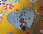 Sisters for life Set of Two Charms. Friendship jewelry DIY add charms to your own necklace or keychain