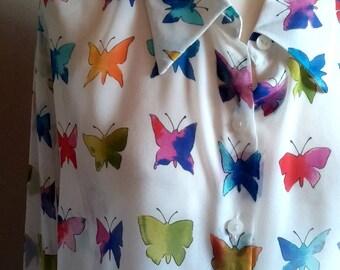 Silk Rainbow Butterfly Print Blouse
