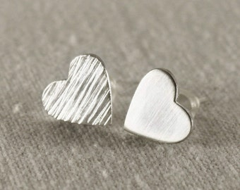 Mothers day gift, Silver heart stud earrings, Bridesmaid gift, handmade sterling silver heart earrings, Heart earrings, Dainty earrings