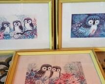 Owl Decor // Nursery Wall Art // 1960s Decor // 60s Art // Set of 3 Prints // Unisex Baby Gifts // Cute Kitchen Decor