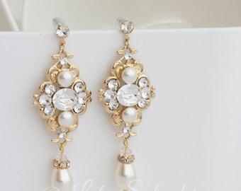 Wedding Earrings Gold Bridal Earrings Ivory pearl Wedding Jewelry Swarovski Pearl crystals Vintage Wedding Earrings LEILA