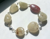 Raw Golden Sapphire and Ruby Bracelet in sterling silver Artisan style Silver lobster clasp