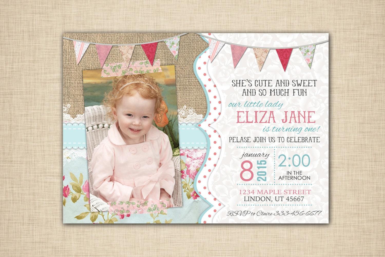 Shabby Chic Birthday Invitations Tea Party Invitation First
