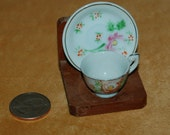 Vintage Miniature Cup and Saucer and Stand Tiny Japan