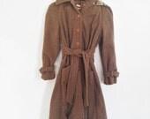 Vintage hooded brown soft wool coat S