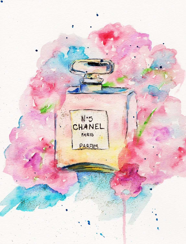 Chanel Print Art: Chanel No 5 Print Of Original Watercolor Illustration