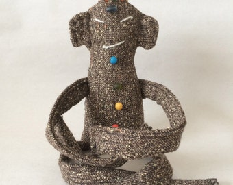 Tiny Zen Buddha Doll #47, British Tweed with Bead Chakras, OOAK, Numbered and Signed