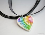 SALE Heart Pendant in Pastel Polymer Clay Filigree Valentine's Day Gift Clearance