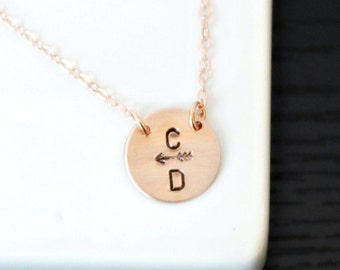 Two Initials Necklace, Arrow Necklace, Bridesmaids Necklace, Personalized Necklace, Mothers Necklace, Best Friends, Sisters, Couples