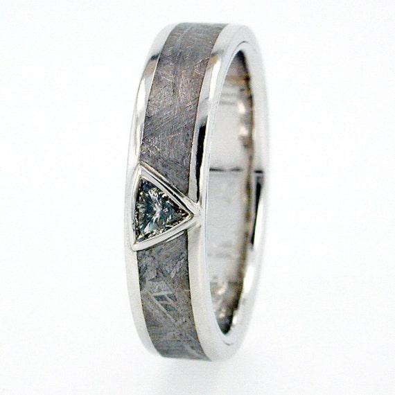 Mangagement or Engagement Meteorite Ring, Platinum Meteorite Ring, Trillion Cut Diamond