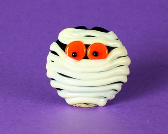 Made to Order, Halloween Beads, Lampwork Glass Bead, Mummy Pendant, Orange Eyes, Jewelry Supplies, Donna Trull