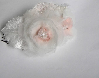 Pale Pink and Ivory  Bridal fascinator mini comb bridal headpiece pale blush pink ivory Dowton Abby wedding  Couture Handmade OOAK-WILLOW