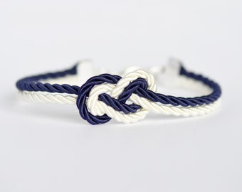 Navy blue and ivory cream infinity knot nautical rope bracelet with silver anchor charm
