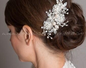 Bridal Hair Comb, Rhinestone Wedding Headpiece, Ivory Pearl and Rhinestone Fascinator, Wedding Hair Accessory - Lilianna
