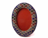 Vintage Hand Beaded Oval Picture Frame Water Design Blue Gold Green Red Glass Beads Holds 3.5 x 5 inch Image Hang or Stand