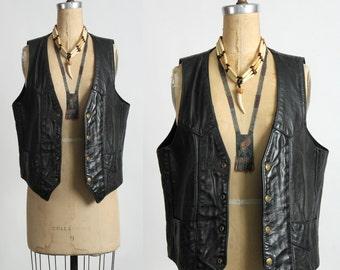SALE- Leather Vest . Biker Wear