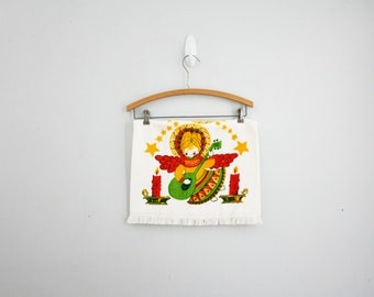 vintage 60s Cannon Christmas Guitar Playing Angel Holiday Terry Bath or Kitchen Towel