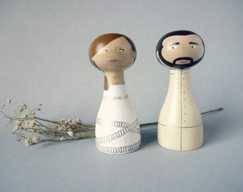 Custom Wedding Cake Topper - Personalized - Wooden art doll hand painted FREE SHIPPING