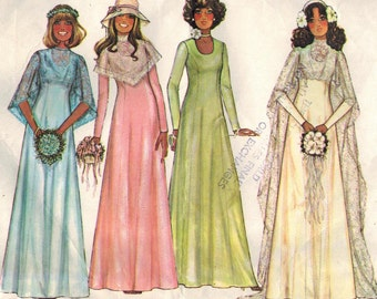 1970s McCall's 5239 Vintage Sewing Pattern Misses Bridal Dress, Wedding Gown, Bridesmaid Dress Size 16 Bust 38