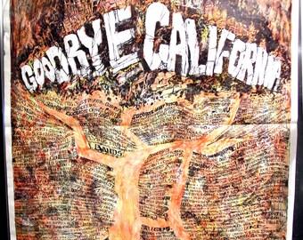 Goodbye California Poster - Rare William Whitaker 1960s Vintage Art Print - 21 x 26.5 inches
