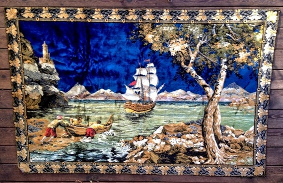 Vintage Rug Pirate Ship Woven Tapestry Wall Hanging