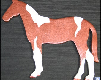 Copper Tobiano Fantasy Horse (OOAK Wooden Magnet)