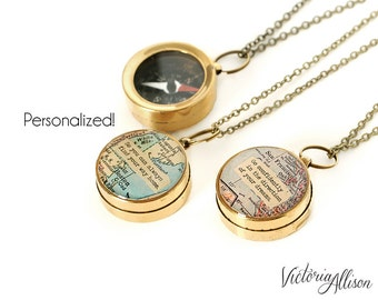 Small Custom Map Compass Necklace with Personalized Quote, Working Compass, Graduation or Moving Gift, Long Distance, Brass or Silver