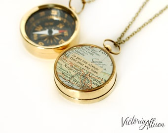 Large Map Compass Necklace - So You Can Always Find Your Way Home or Personalized Quote, Working Compass, Graduation Gift, Moving Gift