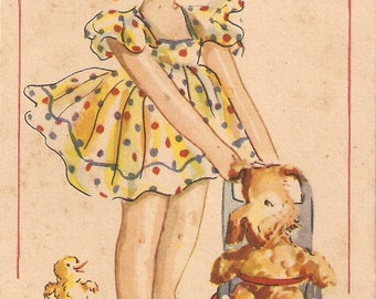 vintage Spanish postcard, Little Girl Playing with Dog in high chair, little chick. a girl and her puppy dog