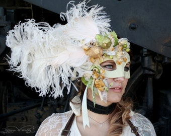 Antoinette - Grand Masquerade Ball Mask in Spring Green and Gold with Ostrich Plumes - OOAK