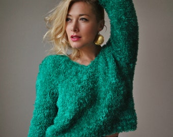 1980s Shaggy Emerald Sweater~Size Extra Small to Medium