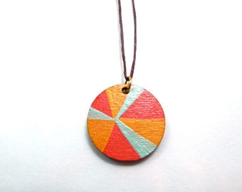 reversible handpainted pendant in gold, turquoise and coral