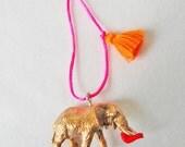 Elephant Necklace Tassel Jewelry Animal Necklace Girls Necklace Plastic Animal Necklace Neon Jewelry Boho necklace for kids