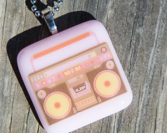 Fused Glass Pendant - Boombox - pink
