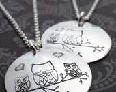 Mother and Child Owl Necklace in Sterling Silver - Hand Stamped Woodland Charm Necklace - Mother's Jewelry Gifts
