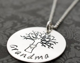 Grandmother's Family Tree Necklace - Sterling Silver Grandma Jewelry with Swarovski Birthstone Crystals - Jewelry Gifts for Her