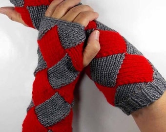 Knit Arm Warmers Knit Fingerless Gloves Knit Wrist Warmers Fingerless Mittens Knit Hand Warmers Grey Red Gauntlets Knit Gloves