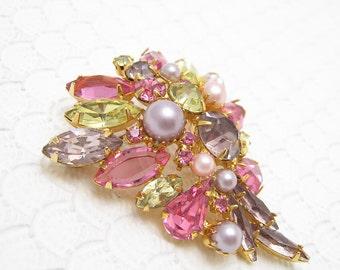 Vintage Rhinestone Brooch Earrings Set Alice Caviness S6188