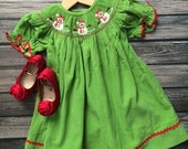 Smocked Snowman Dress Girls Christmas Dress Corduroy Fabric