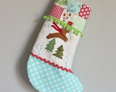 READY TO SHIP Christmas stocking reindeer green pompom