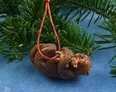 Xmas Sea Otter and Teddy Ornament , Handmade Christmas Decoration