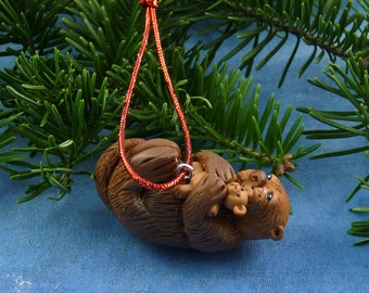 Xmas Sea Otter and Teddy Ornament , Handmade Christmas Decoration