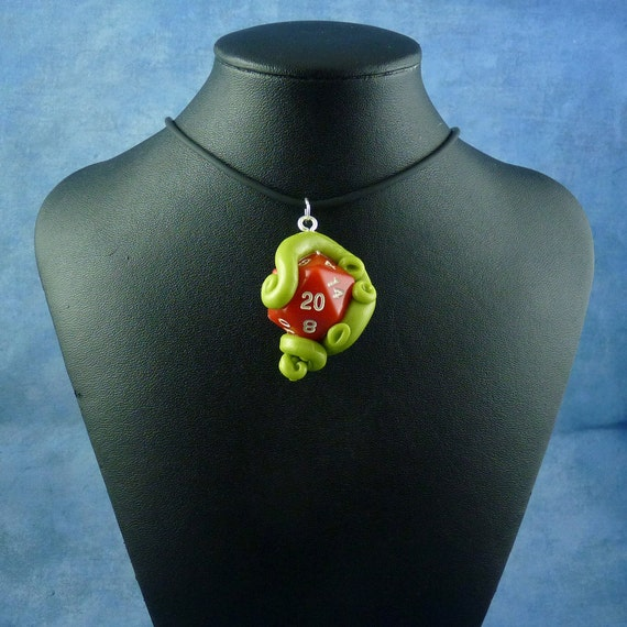 Bright Green and Red Sanity Check Necklace - Tentacle Wrapped D20 Pendant
