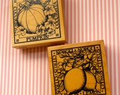 "Pumpkin and Lemon 3"" x 3"" rubber stamps"
