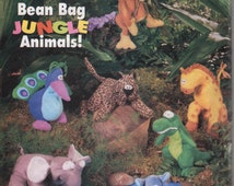 Buterick 5663 214  Bean Bag Jungle  7 Animals Sewing Pattern 6 - 8 Inch Stuffed Animals Sewing Pattern Monkey Giraffe Hippo Alligator UNCUT