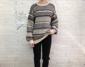 vintage 80s Nordic neutral tone pure alpaca sweater / oversize slouchy stripe wool sweater